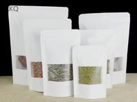 Branco kraft saco de zip lock de papel, Alimentos Secos de Frutas De Chá De empacotamento Bolsas com janela fosca, Stand up Zipper Auto saco de Vedação, 100 pcs