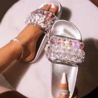 2021 Kadınlar Komik Terlik Flats Kristal Sandalet Para Kayıp Plaj Çevirme Kadın Ayakkabı Sürpriz Fiyat