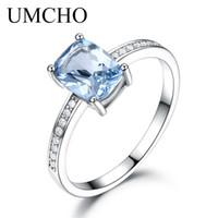 Umcho Genuine 925 Anéis de Prata Esterlina Para As Mulheres Céu Azul Topázio Solitaire Gemstone Anel de Noivado de Casamento Romântico Jóias Novo Y19051602