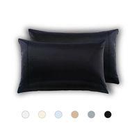 2adet% 100 Standart Queen Yıkama Yastık Case İpek Yumuşak Dut Düz Yastık Kapak Sandalye Koltuk Kare Yastık Kapak Kolay yıkanır