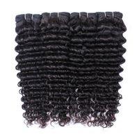 キサーンバージンブラジルの深いカーリーバージンヘアエクステンション4ピース/ロット深い波安くペルーのインド人の髪の毛織り束