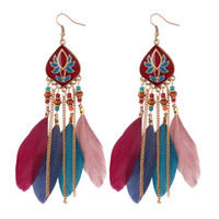 feathers fringed earrings Bohemian retro Earrings 4 colors g...