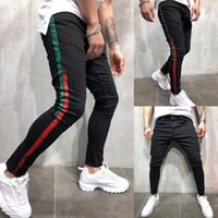 Moda Masculina Skinny Jeans Denim Pant Stripe Pant Denim desgastadas Jeans Longo Men Casual Slim Fit