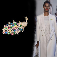 European new luxury retro large peacock animal brooch color ...