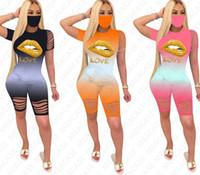 نساء الشفاه طباعة سراويل رياضية رسائل اللون متدرجة تي شيرت مجموعات الأزياء تموج هول الزي الصيف اثنين من قطعة الملابس بدلة رياضية D7609
