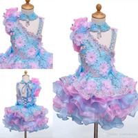 Gerçek Görüntü Yüksek Boyun Mini Kısa Kek Çiçek Kız Elbise Aplikler Boncuklu Dantel-up Geri Kız Pageant Elbiseler Çocuklar Doğum Günü Partisi Elbiseler