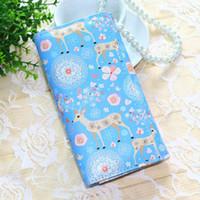Designer-Nuove donne Portafogli Borse di marca Portamonete Fiore Deer Blu Portamonete Borse della signora Frizioni lunghe Portafogli da donna Carte Holder Bag