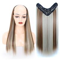 24 '' reta longa sintético U shaped clipe peruca de cabelo para as mulheres Ombre L-Part Em extensões do cabelo Preto Azul Hairpieces
