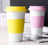 세라믹 컵 실리콘 뚜껑 커피 우유 차 음료 용기 물 병 머그컵 홈 자동차 세라믹 컵을 방지 다림질 GGA2690