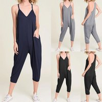 Celmia Taille Plus Salopette Femmes Sexy Strap 2020 Jumpsuits Summer Beach Romper manches Casual vrac Sarouel Combinaions