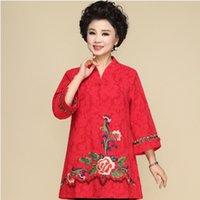ed9a27eef New female Chinese traditional tang suit embroidered flowers cheongsam style  top vintage women plus size cotton linen ethnic clothing