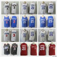 Дети молодежные мужчины высочайшего качества Jiver 21 Embiid Allen 3 Iverson Ben 25 Simmons детей мальчики синий белый красный крем баскетбол