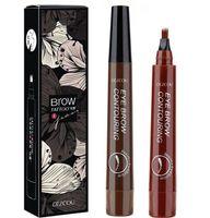 Pen Sourcils Tip fourche étanche Tattoo Long Last Crayon Sourcils 4 Tête fine Sketch liquide Sourcils Enhancer Sourcil Crayon KKA7808
