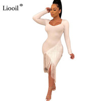 Liooil Black White Sexy Tassel Bodycon Midi Dress Women 2019...
