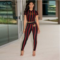 Stripes Casual Women Jumpsuit Pressure Elastic Two Pieces Su...