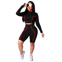 HISIMPLE 2019 Spring Sexy Womens Two Piece Sets Shorts Pants Outfits for Women Tracksuit Crop Top and Biker Shorts 2 Piece Stripped Clubwear