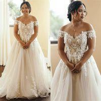 2020 elegante más el tamaño de vestidos de boda del hombro de encaje apliques una línea de vestidos de novia País Boho abiti de novia