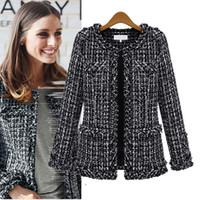 Las mujeres de la tela escocesa de vestir exteriores de la chaqueta 2020 mujeres Escudo Moda Otoño Invierno Delgado Negro a cuadros Tweed T200111 informal