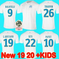 NOUVEAU Olympique de Marseille Maillot de football 2019 2020 Ligue Maillot de Foot balotelli L.GUSTAVO THAUVIN 19 20 enfants chemise kit de football
