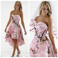 Beautiful Sweetheart High Low Pink Camo corto damigella d'onore vestito a buon mercato Slim Vestidos de Damigella d'onore Abiti da festa personalizzati Maid of Honor