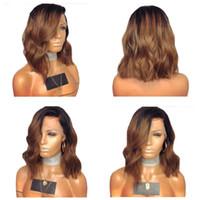 1B / 30 Dantel Ön İnsan Saç Peruk Ombre Renk Tam Dantel Peruk Brezilyalı Siyah Kadınlar için% 150 Yoğunluk Kısa Peruk