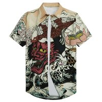 3D الوحش قمصان اليابانية أسطورة الشيطان قمم المتناثرة عارضة قصيرة الأكمام قمصان ذكر صيف المحيط القطن الرجال الاتحاد الأوروبي الحجم