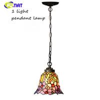 Lampadario FUMAT in vetro colorato in stile mediterraneo Breve lampada in vetro artistico orchidea viola per soggiorno Lampade da cucina