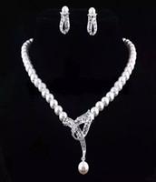 Perles Faux bijoux de mariée Ensembles Boucles d'oreilles collier en strass cristal de mariée Prom Party Pageant Filles Accessoires de mariage En stock