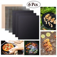 6Pcs Non-stick BBQ Grill Mat Barbecue Grill Pads Kochen Backen Platzdeckchen Mesh-Küchenzubehör Reusable Roaster Werkzeuge