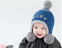 gestricktes buntes Baumwollgarn des koreanischen Kartons der Art und Weise des Jungen und der Mädchen scherzt handgemachte Winterhüte für 3-24M Babywinter 5pcs / lot