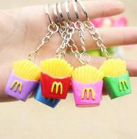 30 قطع الإبداعية شخصية سلسلة المفاتيح الحلي مصغرة محاكاة الغذاء فرايز الفرنسية كيرينغ سلسلة مجوهرات حقيبة سحر قلادة مختلط الألوان