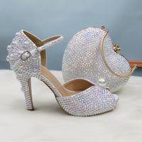 Bombas BaoYaFang Bling zapatos de las mujeres boda y los bolsos de alta nupcial tacones de zapatos de las señoras vestido de la mujer del partido de la manera dulce