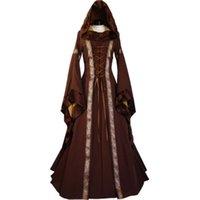 Partykleider Frauen 2021 Mode Langarm Kleid Mittelalterliche Renaissance Vintage Bandage Dame Bauernmädchen