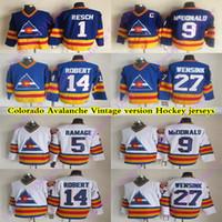 كولورادو للرجال Avalanche CCM خمر الفانيلة 9 ماكدونالد 14 روبرت 1 Resch 27 Wensink 5 Ramage Hockey Jersey
