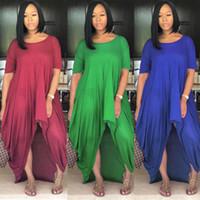 Artı Boyutu Avrupa Devletleri Kadınlar Kısa Kollu Yuvarlak Yaka Büyük Metre Uzun Düzensiz Yağ Mm Şifon Elbiseler Düz Renk Kısa Kollu Elbise