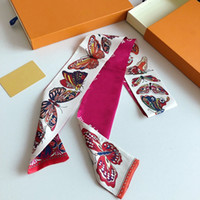 El nuevo diseño de la cinta de seda principal de doble capa impresa las bufandas de seda de las mujeres de la moda de la marca de la marca de la marca de la marca de la marca Pequeña bufanda larga 7 * 100 cm