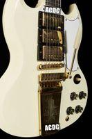 1963 SG Benutzerdefinierte klassische weiße elektrische Gitarre lange Version Maestro Vibrola Tremolo-Saite-Harpe-Logo, 3 Humbucker-Pickup, Gold-Hardware
