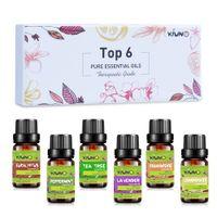 Kiuno 10ml 6pcs cadeau ensemble d'huiles essentielles pur diffuseur humidificateur Massage arôme orange menthe poivrée patteouli lavande citron olis