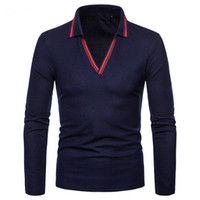 Long Sleeve POLO Shirt For Men Casual Tops Tees V Neck Polo ...