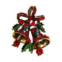 Прекрасная Два Bow Bells брошь для женщин Рождественского костюма Броши Pins Vintage творческого подарок ювелирных изделий фрак аксессуары Подарка