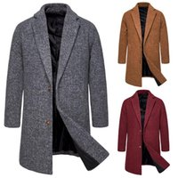 Men Woolen Coat Korean- style Slim Fit Mid- length Trench Coat...