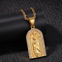 Kişiselleştirilmiş Altın Hip Hop Bling Elmas Kilisesi Çapraz Bakire Mary Kolye Kolye Büküm Zinciri Erkekler Kadınlar Için Bijoux Rapçi Zincirleri Takı