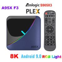 A95X F3 8K RGB Luz TV Box Amlogic S905X3 Android 9.0 TV Box 4GB 64GB dual WIFI K Youtube Mídia Palyer