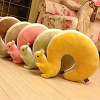 New Nap Pillow Novelty Squirrel Animal Cotton Plush U Shape ...