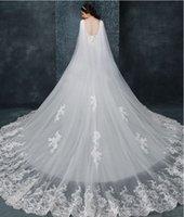 Novo Designer Nupcial Casamento Xaile Cloaks Bolero Cape Lace Jacket Wraps Branco Marfim Shrug Catedral Trem 3M Long Veil