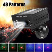 Полный цвет 48 Узоры, вращающиеся RGB LED лазерное сценическое освещение проектор красный зеленый синий светодиодный DJ KTV диско свет лазерной шоу 110-240V