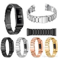 Fitbit 충전을위한 패션 스테인레스 스틸 시계 밴드 스트랩 3 링크 팔찌 교체 시계 밴드 Fitbit 충전 3 럭셔리 밴드