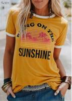 Maglietta basic da donna O collo Manica corta Portare il sole Stampa Tees Maglietta casual estiva da donna Camisetas
