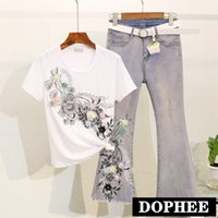2019 Summer New Arrival Flower Embroidered Beaded Short- slee...
