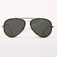 -Piloto Chama óculos de sol dos homens dos óculos de sol Mulheres Moda óculos de sol dupla ponte Des Lunettes De Soleil com capa de couro